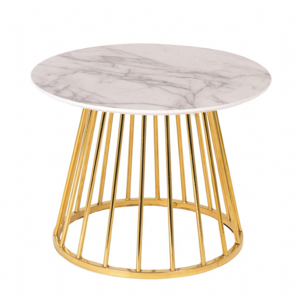 NEW Mmilo Liverpool Coffee Table (60cm)- White Marble with Gold legs